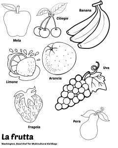 italian food coloring pages | Multilingual Printables: Fruits and Vegetables in 7 Languages