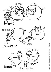 Animals Parents and Babies in Finnish