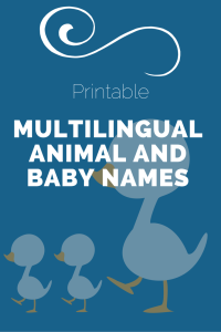 Printable Multilingual Animal Baby and Parent Names