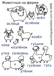 Animal Parents and Babies in Russian