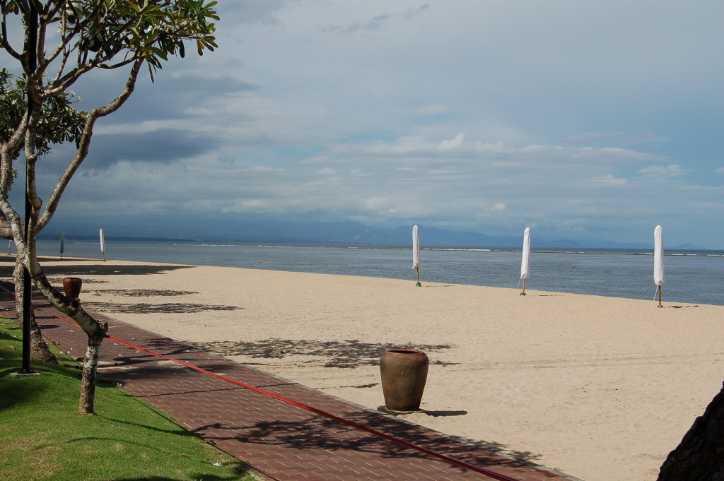 Sanur Beach, Bali, deserted during Nyepi, Balinese Day of Silence