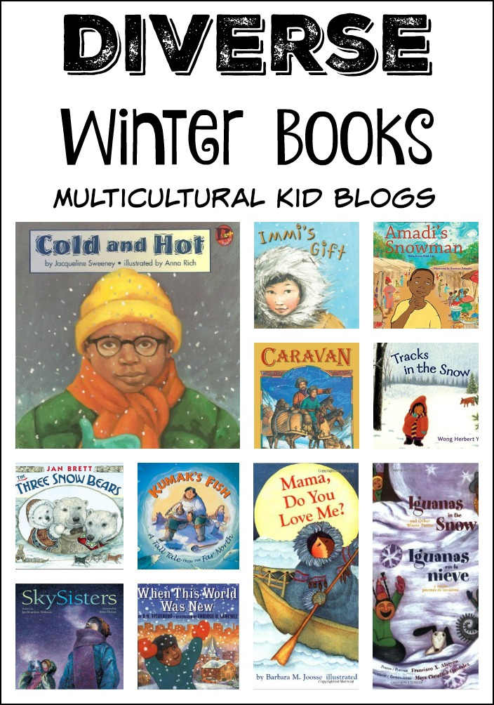 A collection of winter books for children with diverse characters