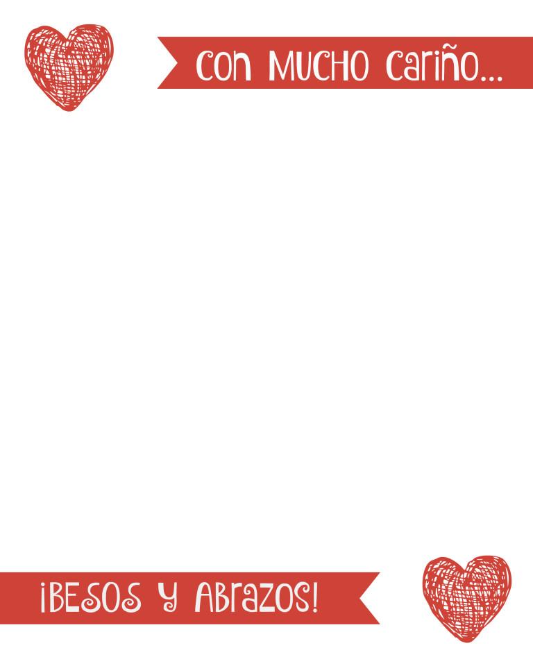 Valentine's Day printable card Spanish