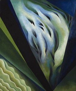 Georgia O'Keeffe, on the list of women artists, painted Blue and green music 1921.