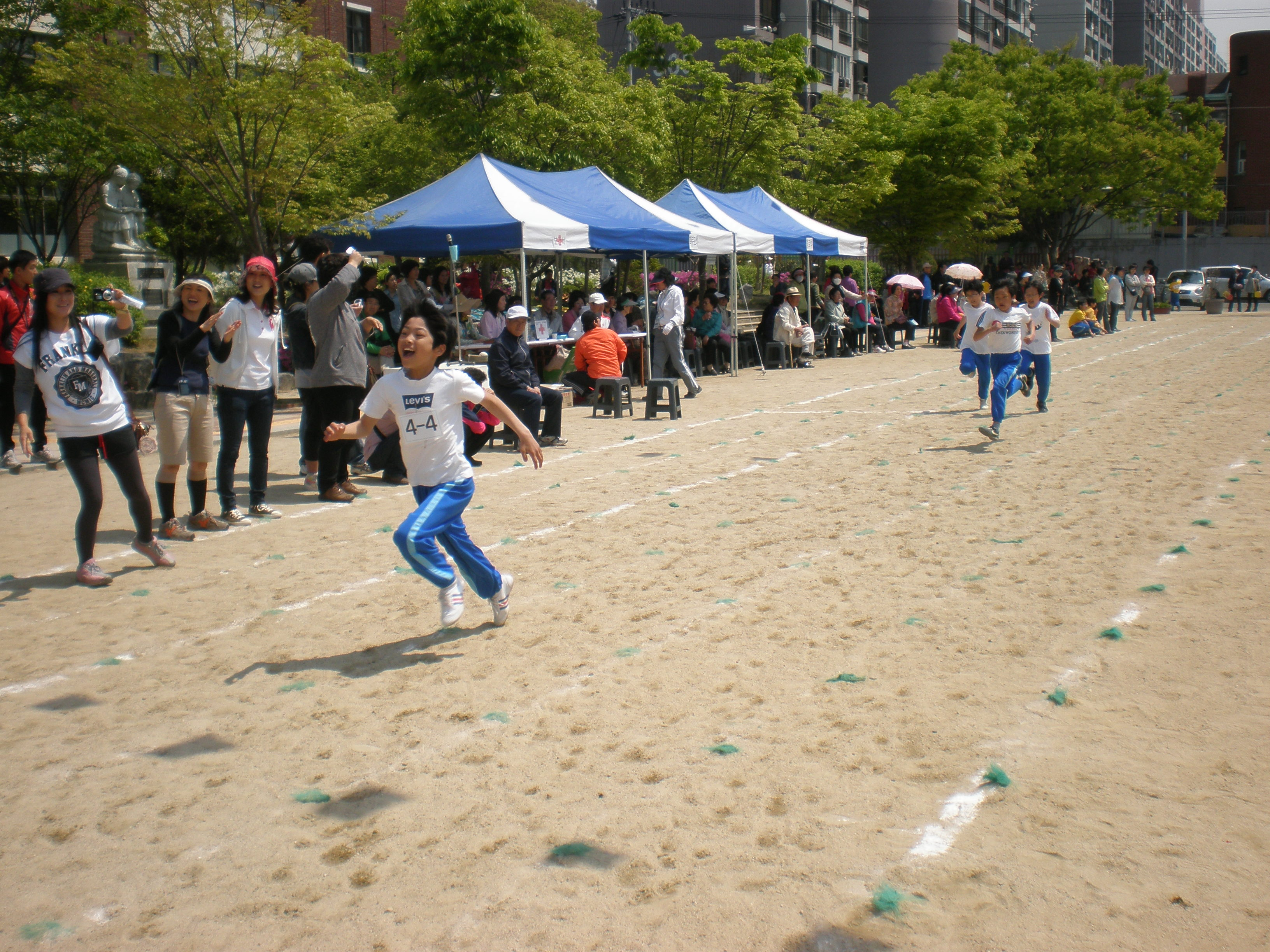 Kids celebrate Korean Sports Day once a year.