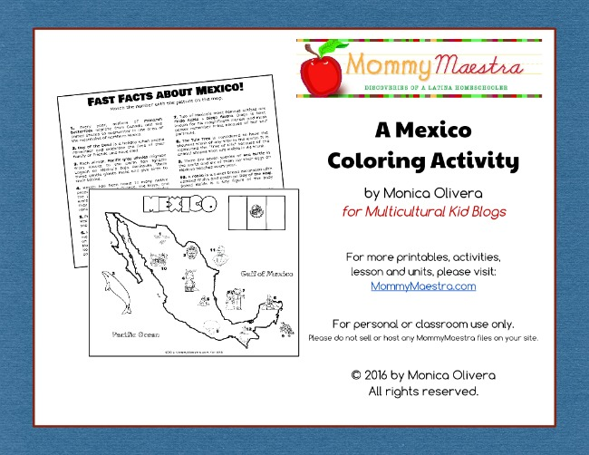 Free download of a printable coloring activity with a map and fun facts about Mexico exclusively for Multicultural Kid Blogs