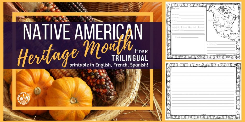 Native American Heritage trilingual printable