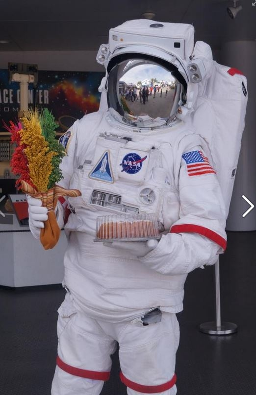 Astronauta holding a cake and quinoa