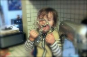 The best part about helping in the kitchen? Licking the beater or spatula!