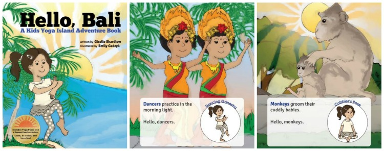 Sample pages from Hello, Bali yoga book by Kids Yoga Stories for our book tour
