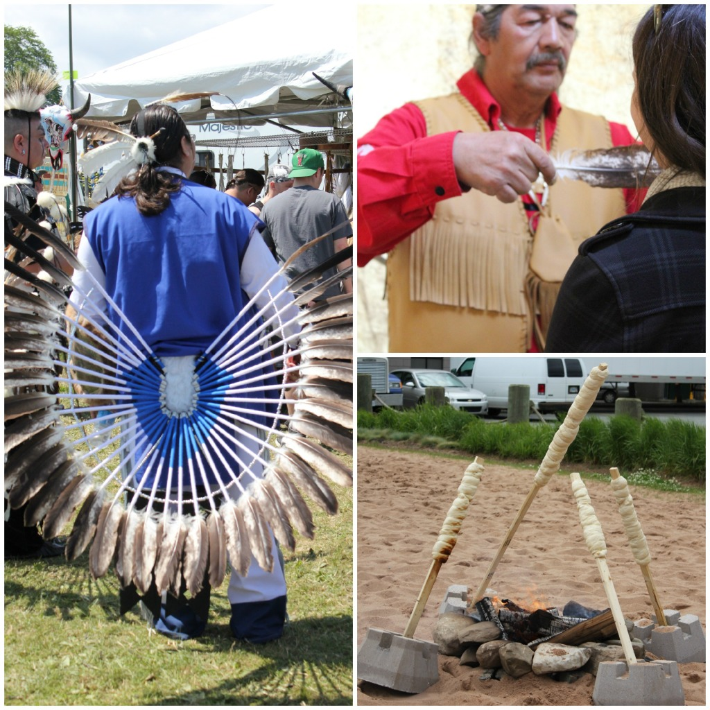 These photos are from Mi'kmaq pow-wows and cultural events we have attended. Clockwise from left: In traditional costume prior to a pow-wow dance; I am being treated to a smudging; bannock bread cooking over a fire pit.