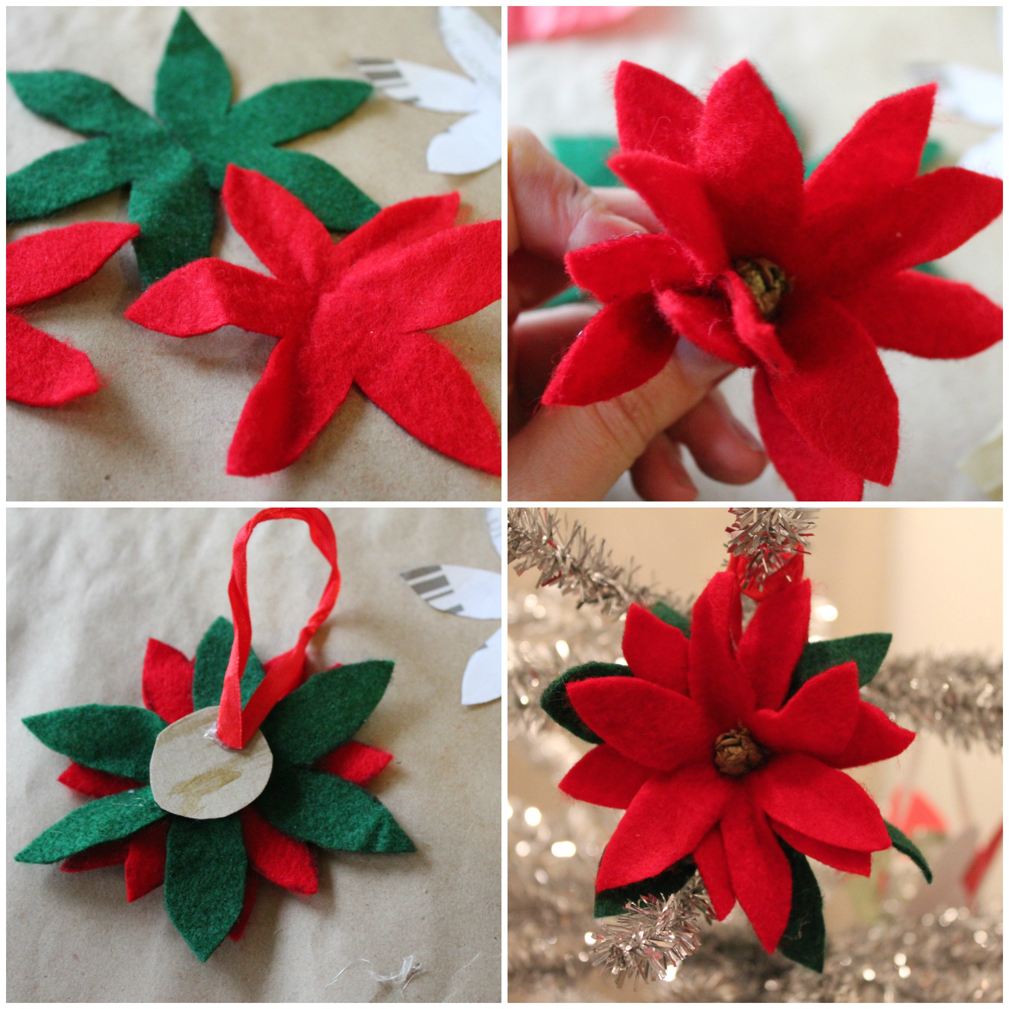 poinsetta ornament collage - Easy Paper Christmas Decorations