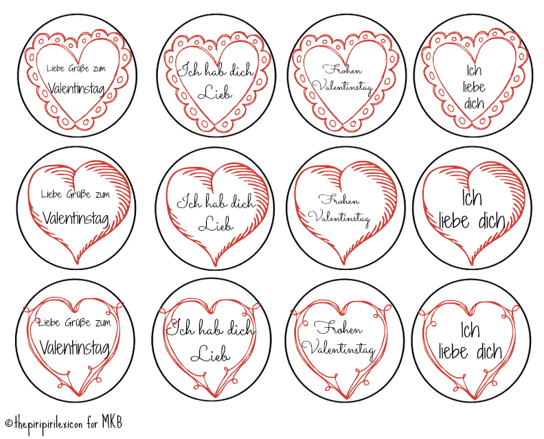 German Valentines Cupcake Toppers