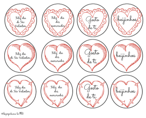 Portuguese Valentines Cupcake Toppers