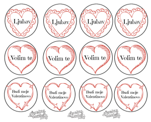Croatian Valentine Cupcake Toppers