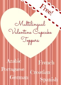 Multilingual Valentine Cupcake Topper Printable