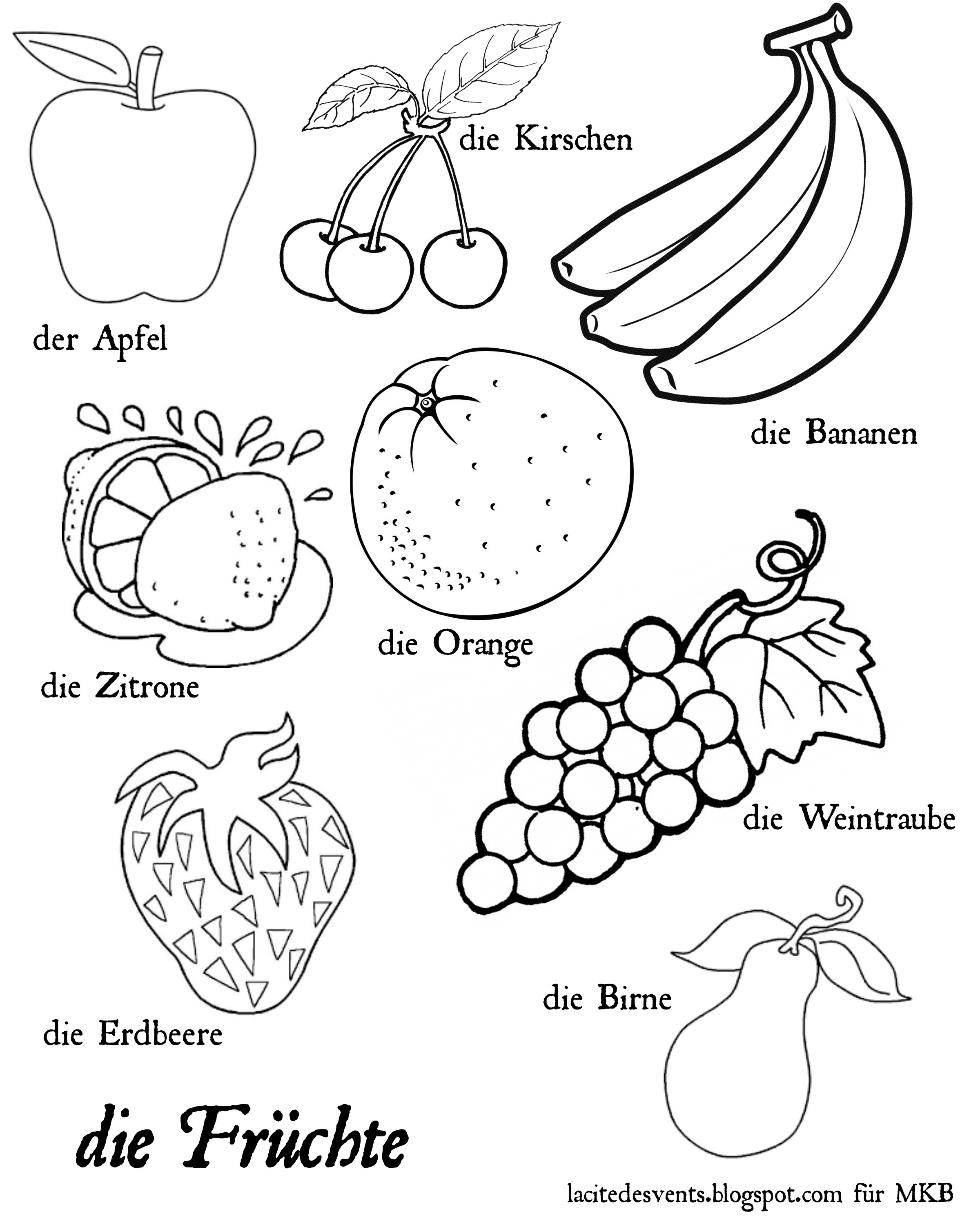 Multilingual printables fruits and vegetables in 7 languages for Printable fruit coloring pages
