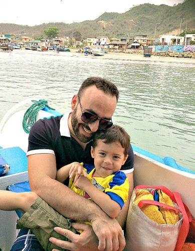 My husband and son after a day of whale watching in Puerto Lopez, Ecuador.