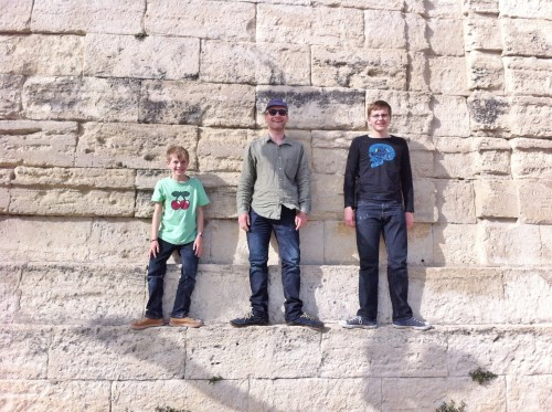 Papa and sons mucking around in Montpellier – travel has always been a big part of our lives and we love exploring the world with our boys.
