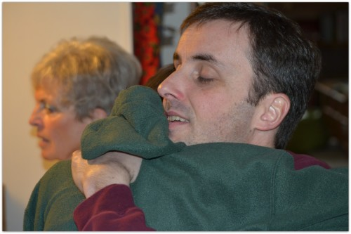 My son Alex had just opened his gifts on his 12th birthday and he spontaneously jumped up to hug his dad and thank him - a precious moment!
