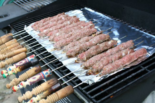 Kabab Torsh on the grill