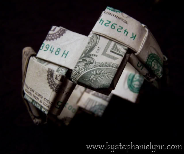 Last Minute Gift Idea How to Fold a Money Bracelet Turn Dollar Bills into a Work of Art bystephanielynn