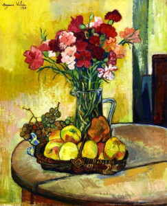A list of 7 women artists including Suzanne Valada, who painted Still Life with Basket of Apples Vase of Flowers 1928