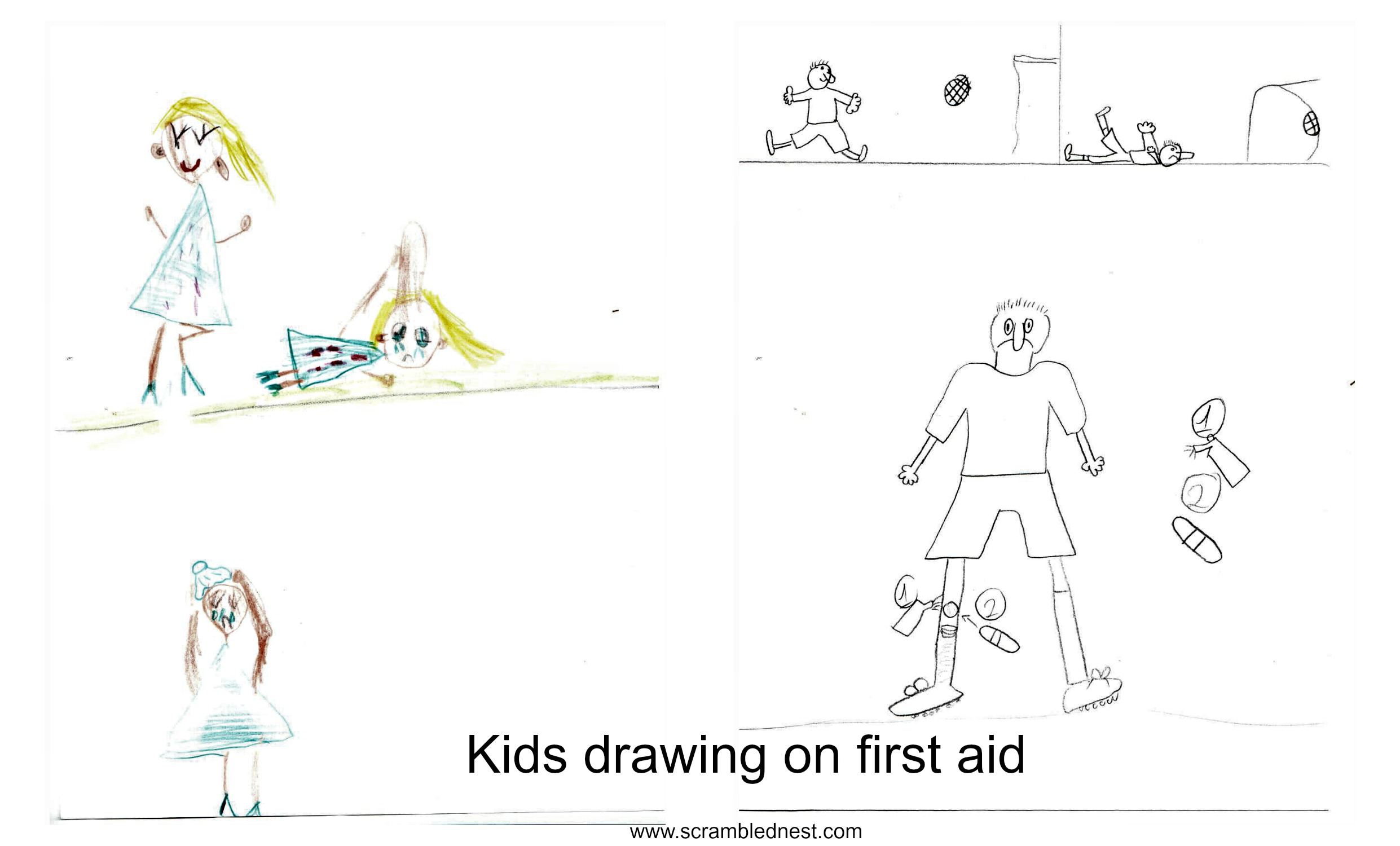 Kids drawings on first aid