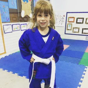 My judoka wearing her judogi (practice uniform for judo). Looking forward to Judoka Rafaela Silva going for Olympic Gold at Home in Rio