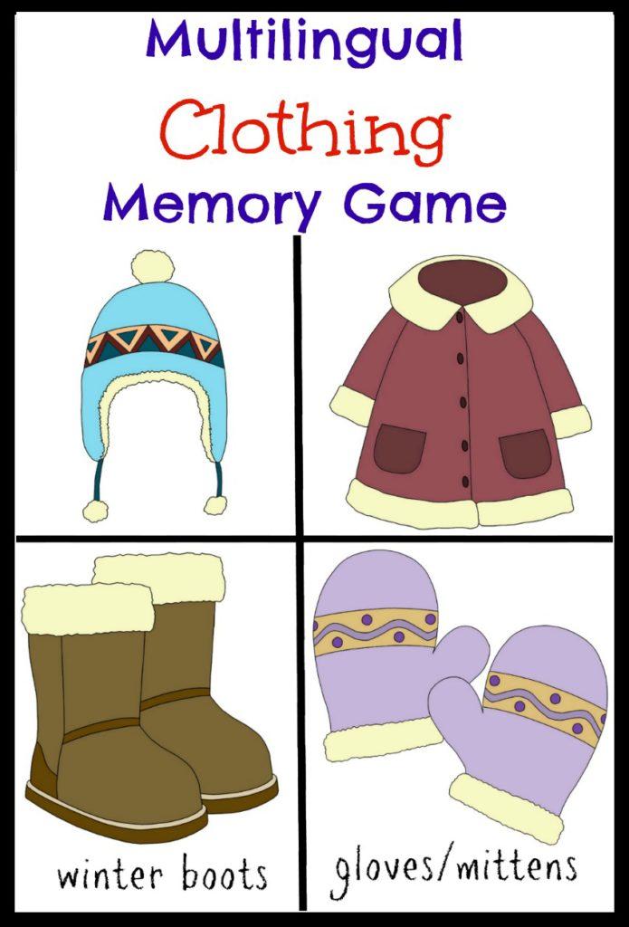Multilingual Printables: Clothing Memory Game