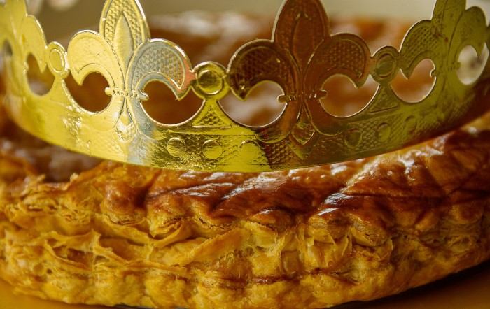 Eating King cake in France for epiphany day
