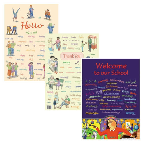 "posters with ""Hello"" ""Welcome"" and ""Thank You"" in many languages"