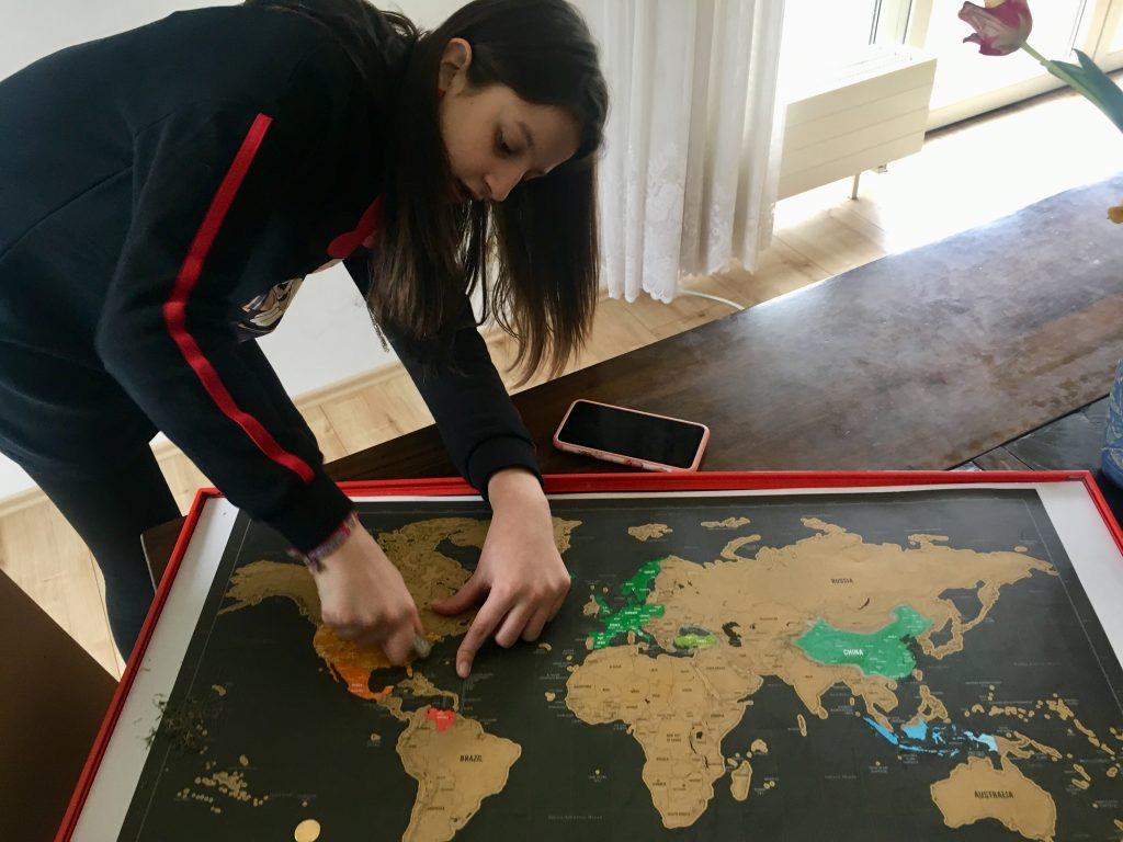 girl with travel map