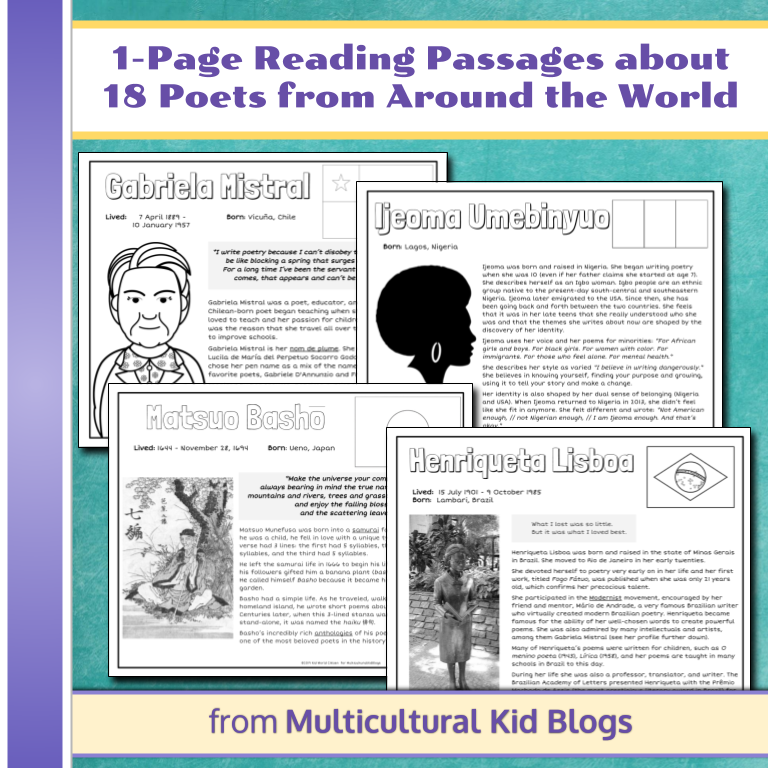 Poets Around the World Activity Pack   Multicultural Kid Blogs