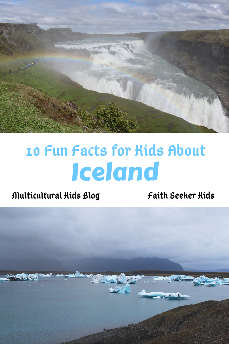 10 Fun Facts for Kids About Iceland with photos of glacier lake and a waterfall with a rainbow