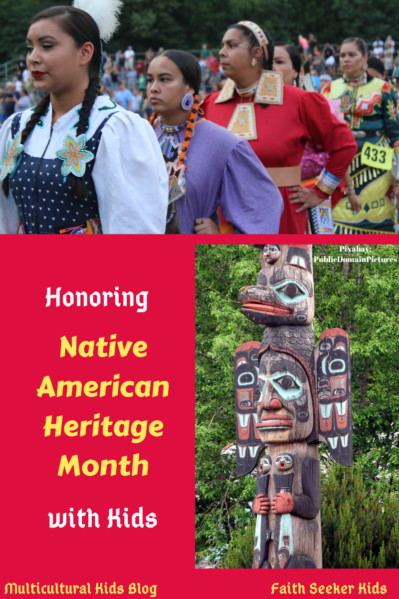 Composite title image with photos of Native American women and a totem pole | Honoring Native American Heritage Month with Kids | MKB