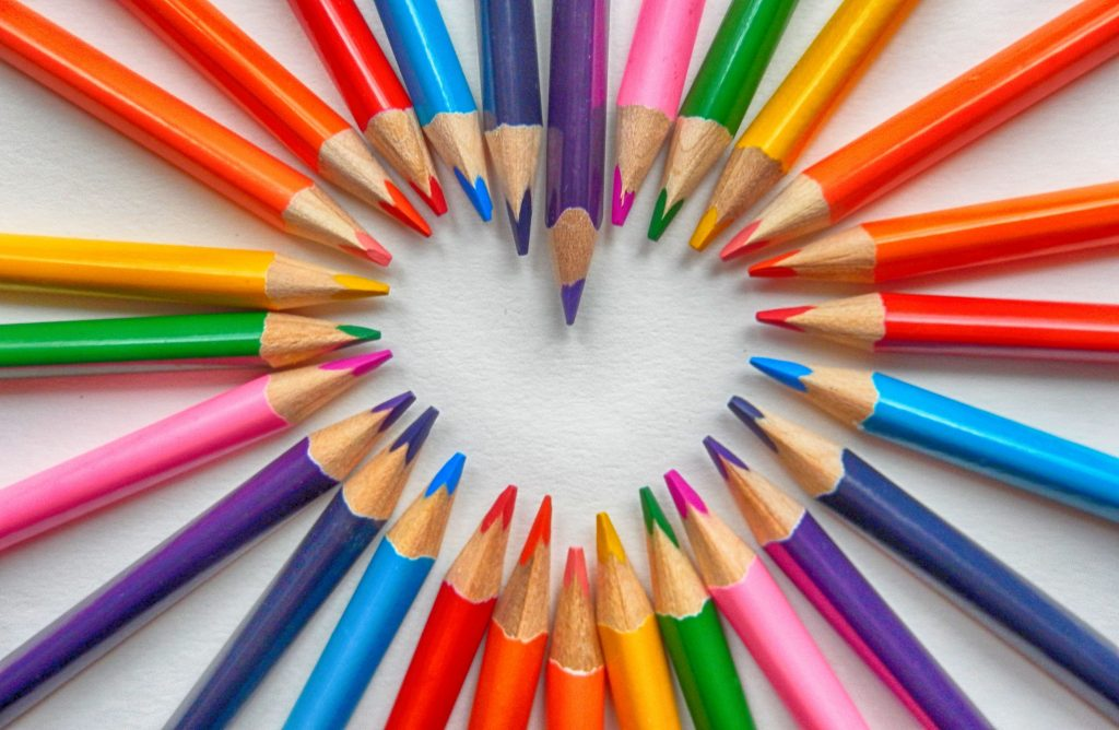 colored pencils in shape of heart