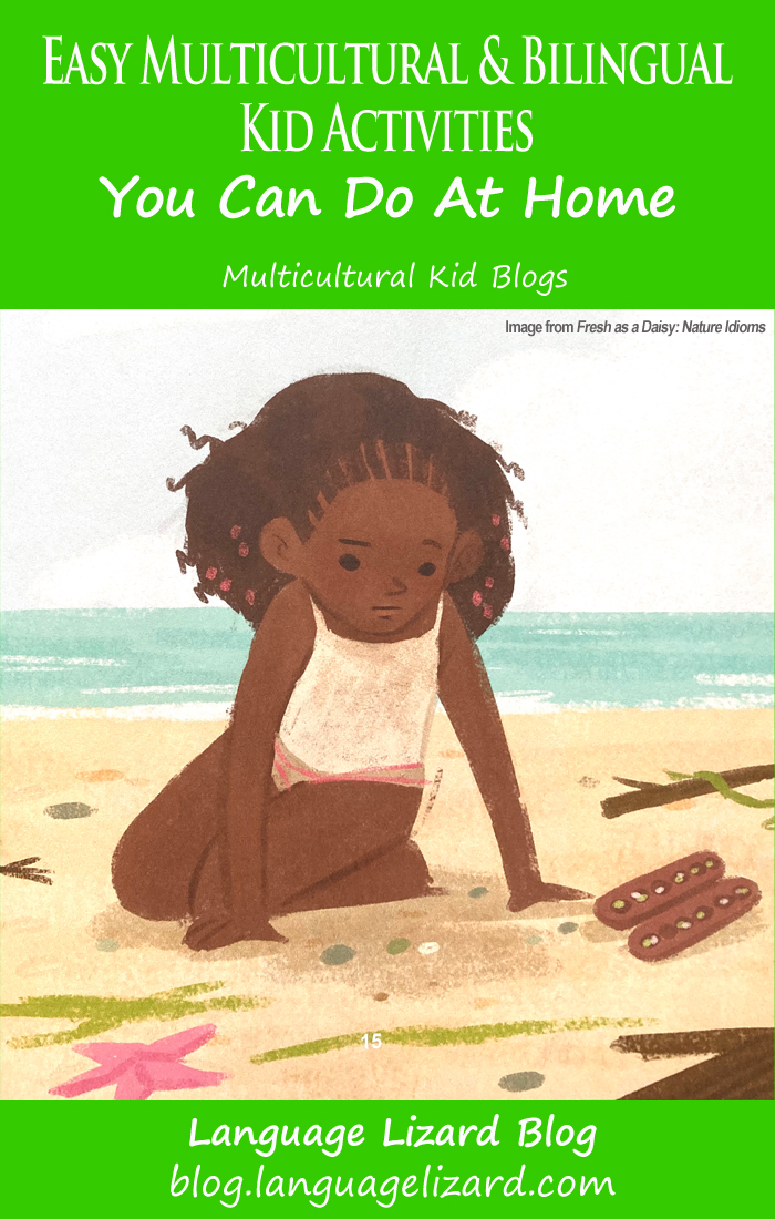 Girl at beach, image from Fresh as a Daisy: Nature Idioms