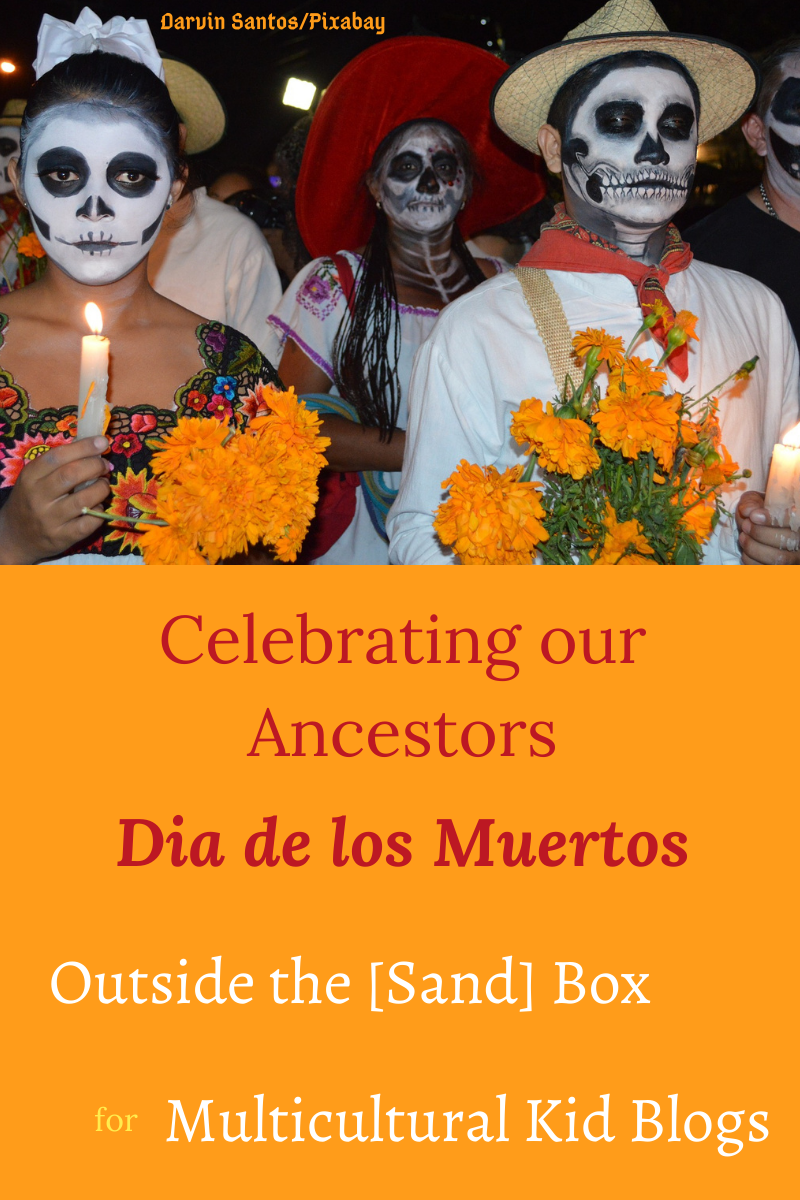 title image with photo of people dressed up as skeletons and carrying marigold and candles in honor of Dia de los Muertos