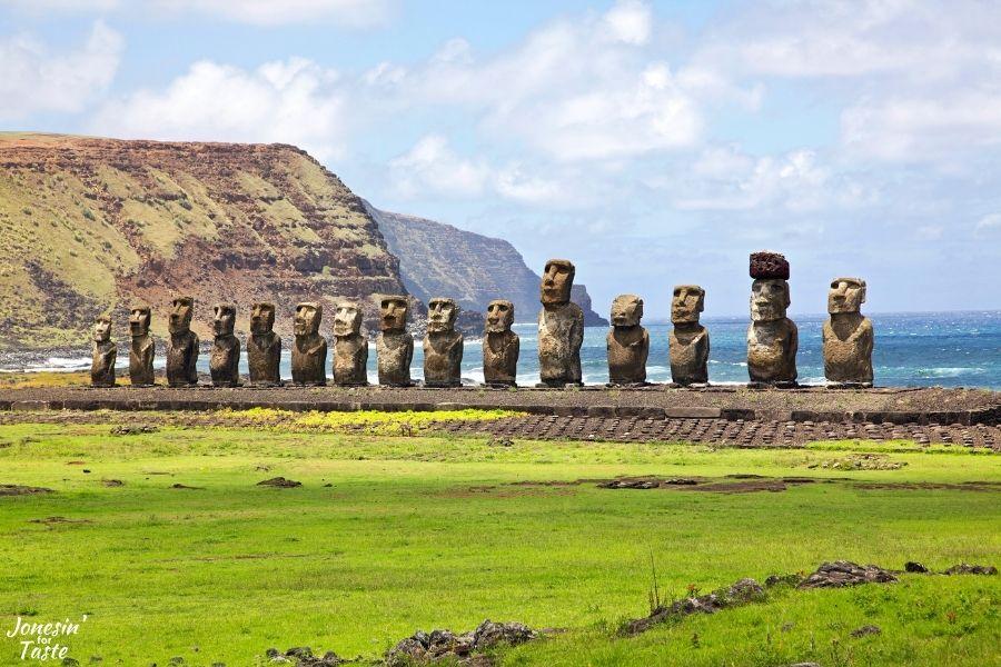 a row of moai (statues) along the shore on Easter Islandon